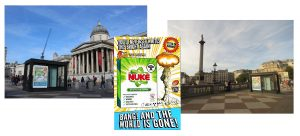 Satirical poster of nuke soap powder ad and photos of the poster in situ in Trafalar Square